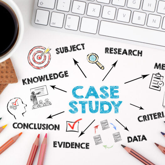 Case study made up of research, data, evidence, and knowledge.