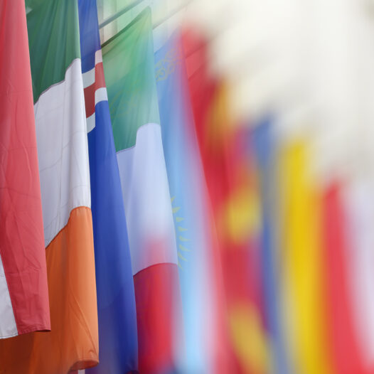 Colorful flags from various countries